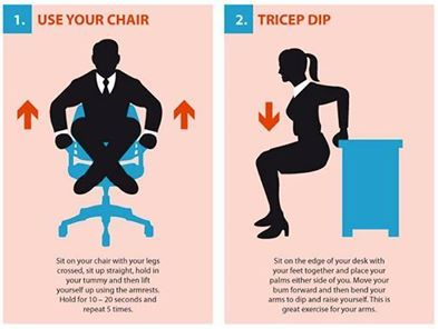 No time to work out this morning? You can do these 15 exercises right at your desk:
