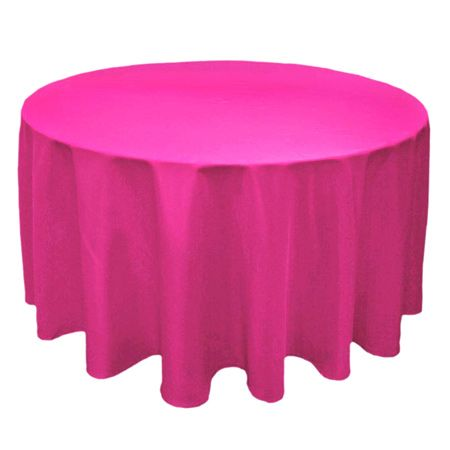 Light Pink 90 Inch Round Tablecloths | TCPY 132FU 132 Inch Round Polyester  Fuchsia Pink
