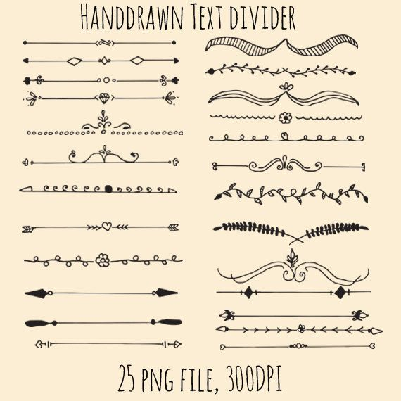 70% OFF SALE Hand Drawn Text Dividers Clip art for by CiriArt