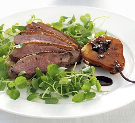 Gordon Ramsay's Pan-Fried Duck Breast w/Creamed Cabbage, Chestnuts & Caramelised Pear