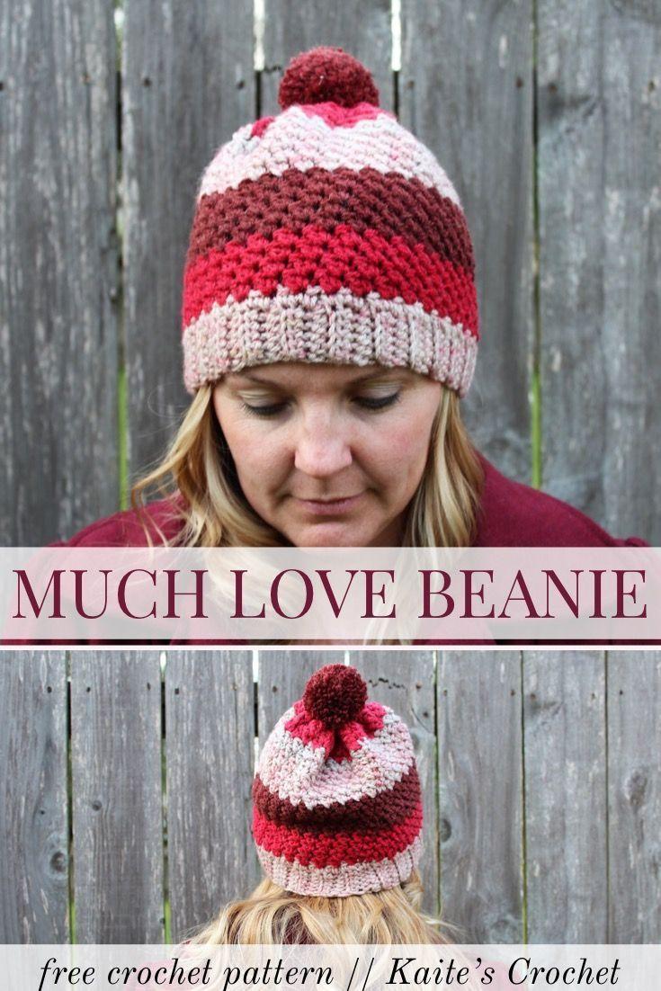 free crochet pattern much love beanie - Hakelmutzen Muster