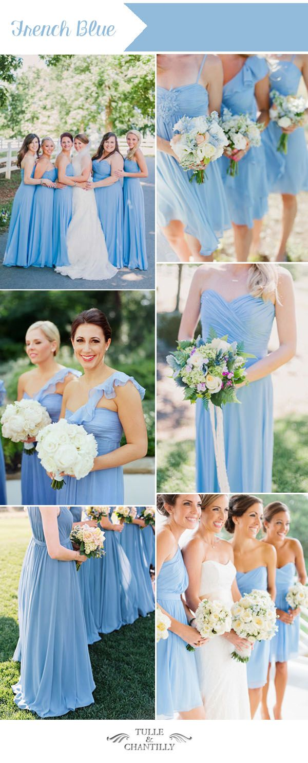 romantic french blue summer wedding color and bridesmaid dresses