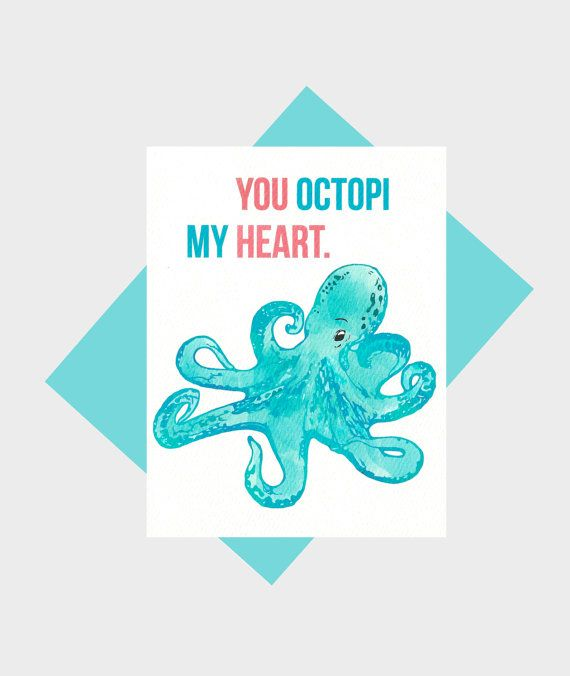 My Heart Octopus Greeting Card Animal Humor Funny Pun Card Love Card Anniversary Card I Love You Card  E  Blove E  B Pinterest Valentines L