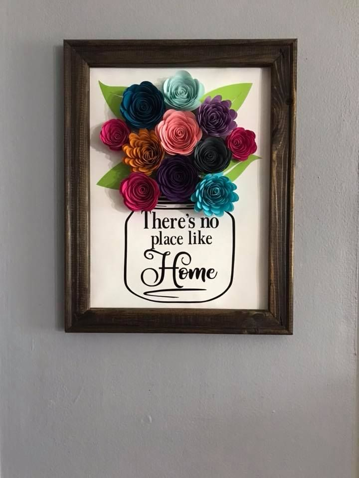 Stained Reverse Canvas With Beautiful Paper Flowers Flower
