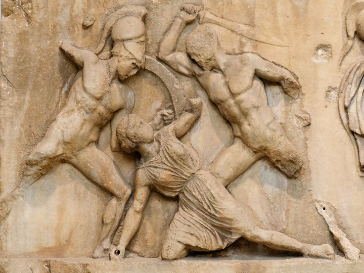 Amazon Frieze BM GR1847.4-24.5. Detail of the Amazon Frieze from the Mausoleum at Halicarnassus: combats between Greeks and Amazons. Date circa 350 BC