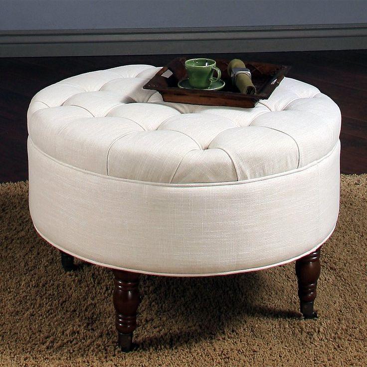 Abbyson Living Avernce Round Tufted Ottoman - White - HS-OT-1060-WHT