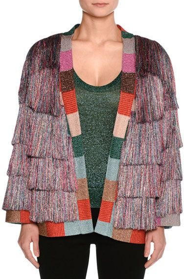 Missoni Tiered Fringe Cardigan, Multi