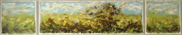 'There blooms a garden' - by Alma Horn.    Triptych 2,200 x 600 x 50 mm. Oil on stretched canvas.  almahorn.blogspot.com/