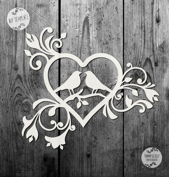 50% SALE!! SVG / PDF Love Birds Heart Design - Papercutting Template to print and cut yourself (Commercial Use)