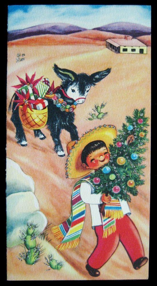 Vintage Christmas Greeting Card Glittered Mexican Boy w Xmas Tree, Burro, & Gift
