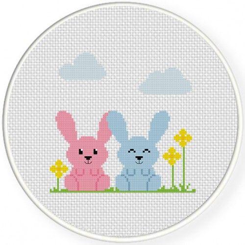 Cutie Bunnies Cross Stitch Pattern