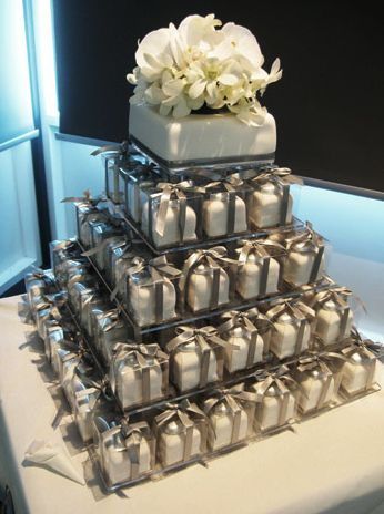 individual wedding cakes. insane amount of work but easier for the guests and couple.