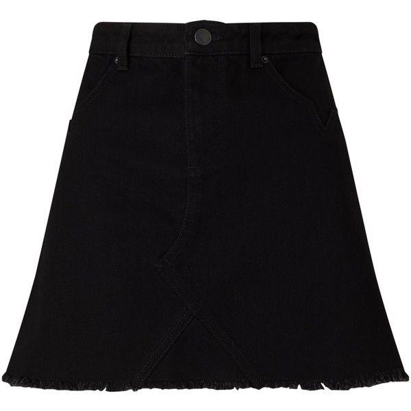 Miss Selfridge Petite Denim Mini Skirt, Black (130 ILS) ❤ liked on Polyvore featuring skirts, mini skirts, petite, short skirts, mini skirt, a line mini skirt, short denim skirts and zipper skirt