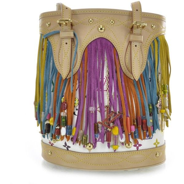 LOUIS VUITTON Multicolor Fringe Bucket w Pochette White ❤ liked on Polyvore featuring bags, handbags, shoulder bags, purses, fringe purse, leather fringe handbag, white shoulder bag, white leather handbags and leather purse