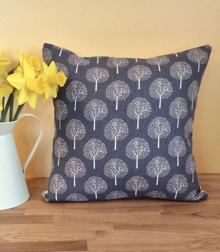Grey Tree Fabric Cushion Cover - Square Cushion Cover Handmade, Grey Cushion Cover, Home Decoration, Concealed Zip Cushion Cover by JumpingJellyDesigns on Etsy