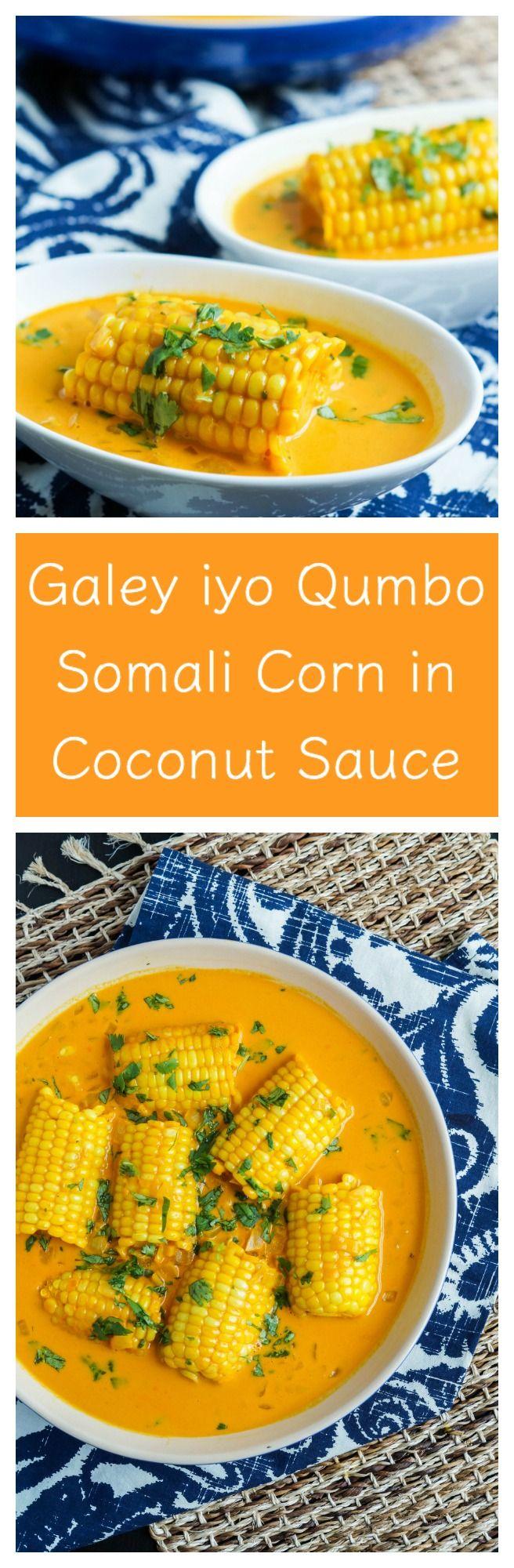 Galey iyo Qumbo- Somali Corn in Coconut Sauce for #SundaySupper  #corn…