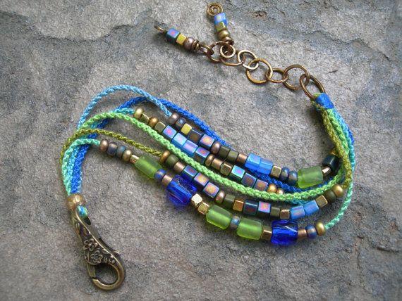 Boho Garden Blues Beadwork Bracelet, Beaded Macrame Bracelet, Hand-Knotted with Bronze Beaded Bracelet OOAK