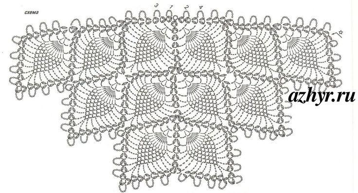 Схема узора  крючком - шаль