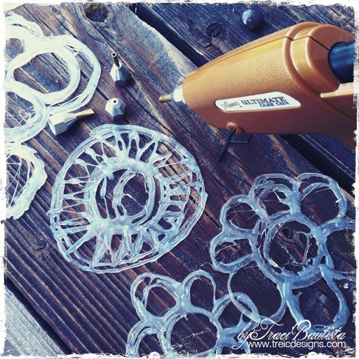 hot glue as handmade stencils! Neat