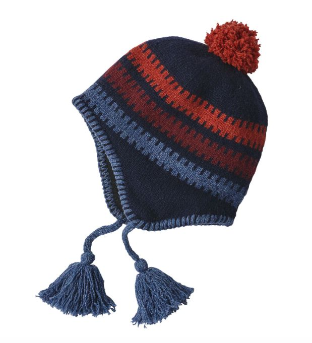 Patagonia Kids' Woolly Hat - Ladder Stripe Navy Blue