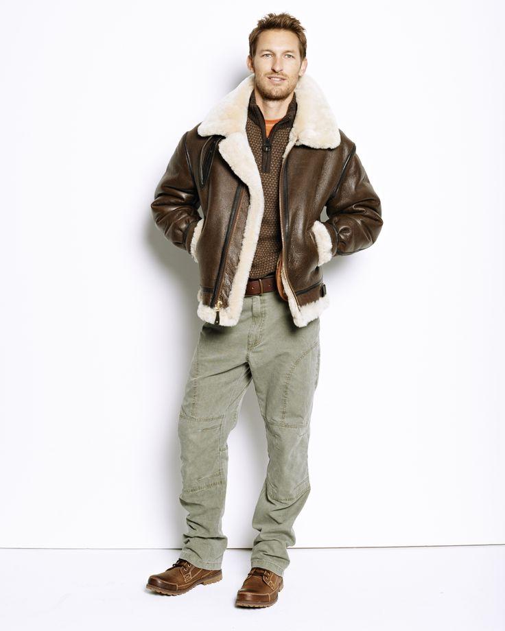 B-3 Bomber Jacket, Barbour® Hines Quarter-Zip Sweater, drirelase Casting Tee, Tundra Canvas Cargo Pants