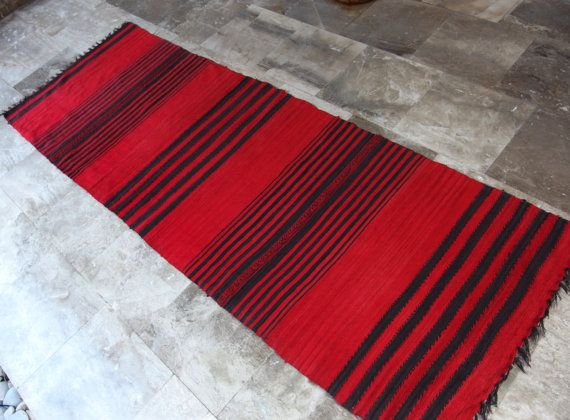 Red Warmth! #Vintage  #Rug #Runner #Cotton  #Long #Striped #Red #Charchoal #Black #CottageChic #FloorDecor RagRug by #VintageHomeStories