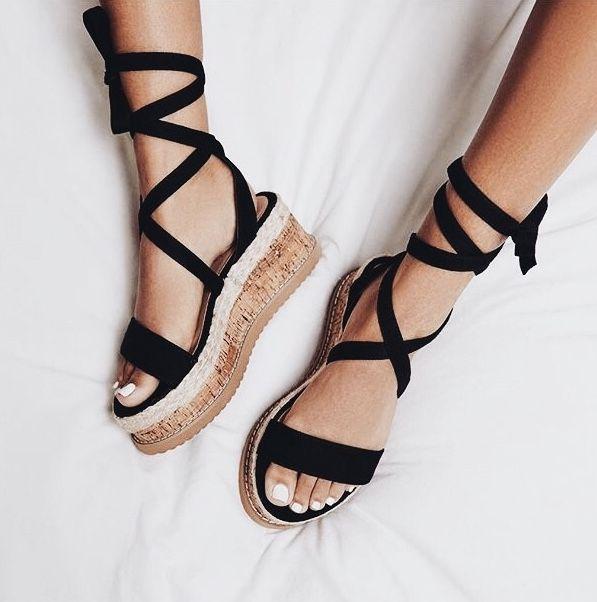 adb2570d2a33 Leg wrap + platform sandals.