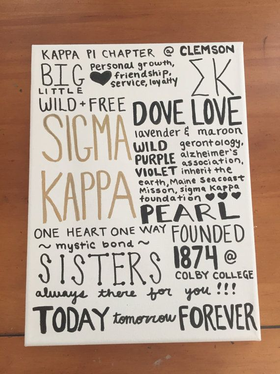 Sigma Kappa Fact Canvas by SororityByErin on Etsy