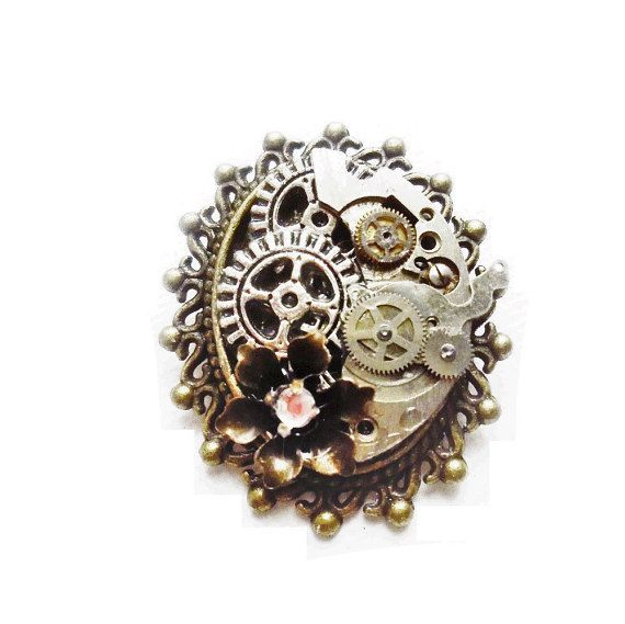 Steampunk Brooch Pin, Steampunk Jewelry by OneStopSteamShoppe (Canadian Etsy Shop) #steampunk #jewelry