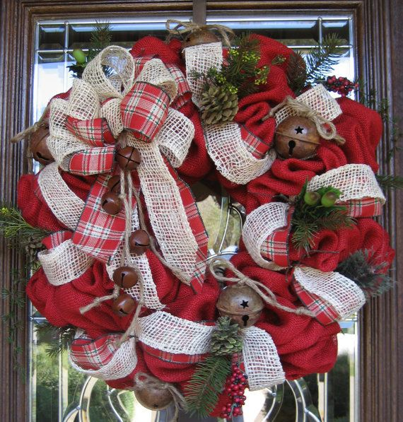 BURLAP and JINGLE BELLS Wreath by decoglitz on Etsy, $125.00