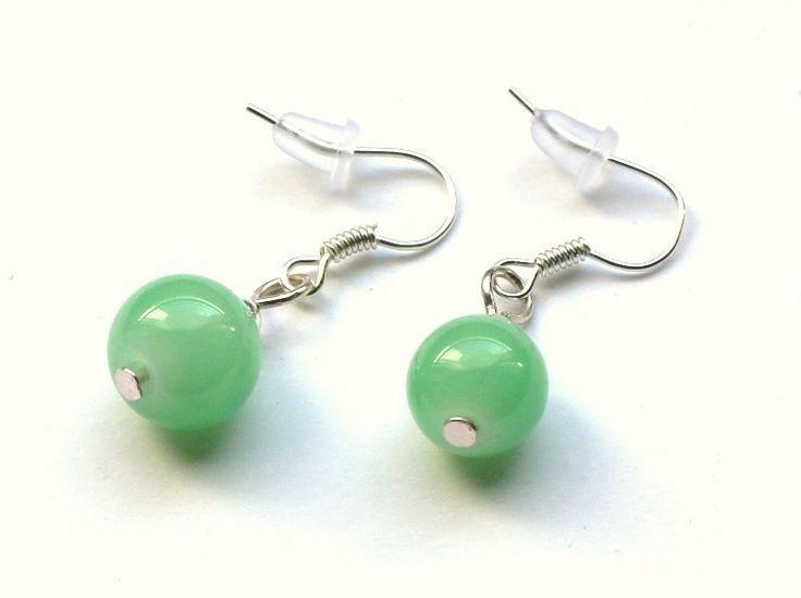 Miętowe kolczyki ze szklanych kulek 10 mm w Especially for You! na http://pl.dawanda.com/shop/slicznieilirycznie  #kolczyki #earrings  #handmade #DaWanda