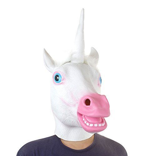 USATDD Latex Animal Head Mask For Halloween Costume Cosplay Party Unicorn White *** BEST VALUE BUY on Amazon
