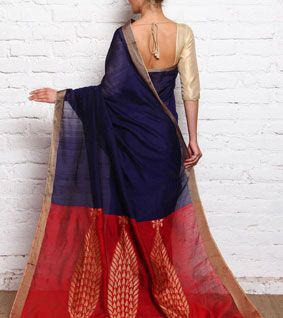 Royal Blue & Red Ghicha Silk Handloom Saree