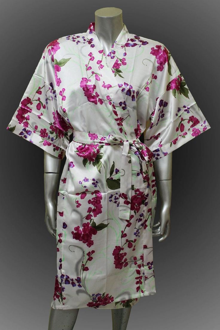 Bridesmaid Silk Robes Design Flower Print With Pure Ivory  Background Gown Robe  ( Free Size) thaichill easy £13.98