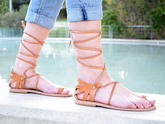 Women summer flats, Natural tan leather, chic sandals, handmade sandals, Boho sandals, Ancient Greek sandals, High Quality Genuine Leather,