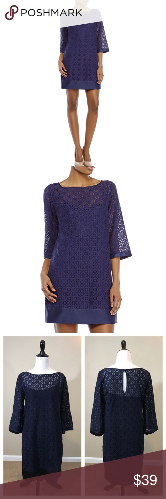 "Laundry Shelli Segal Navy Lace Boatneck Dress Navy blue crochet Lace overlay Dress by Laundry Shelli Segal. Boatneck. Cotton, nylon blend. No flaws, size 8. 34"" length 💕 Dresses"