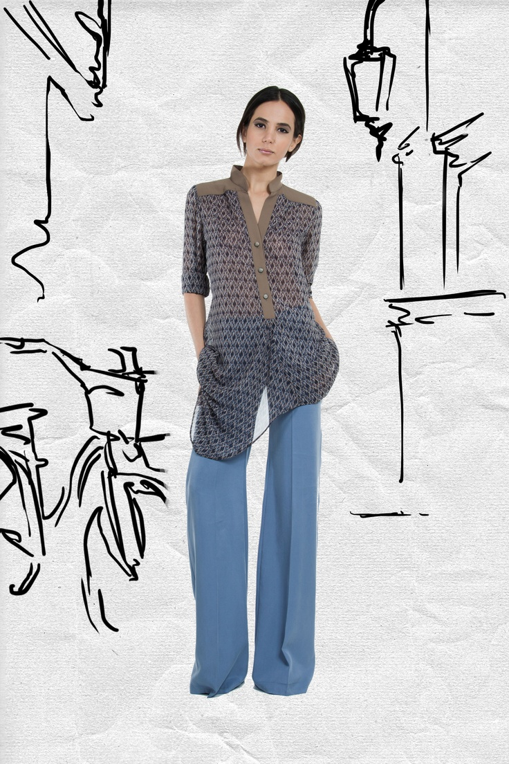 JAC Spring 2013. Team this with a pair of cigarette pants to show off the asymmetrical hem of the blouse.