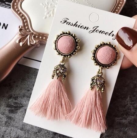 Vintage Round Tassel Drop Earrings