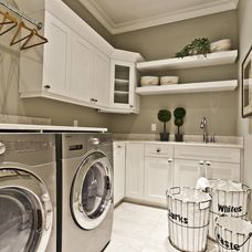 Contemporary laundry room baskets w/ liners (whites, darks, waste)