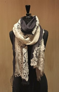 Pashma Navy and Lace Scarf