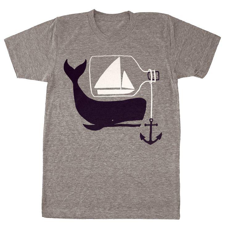 Ship & Whale - Mens Unisex Nautical T-Shirt Tee Shirt Anchor Whale Sailing Boat Ship in a Bottle Tshirt - Tri Blend Grey - S, M, L, XL. $25.00, via Etsy.