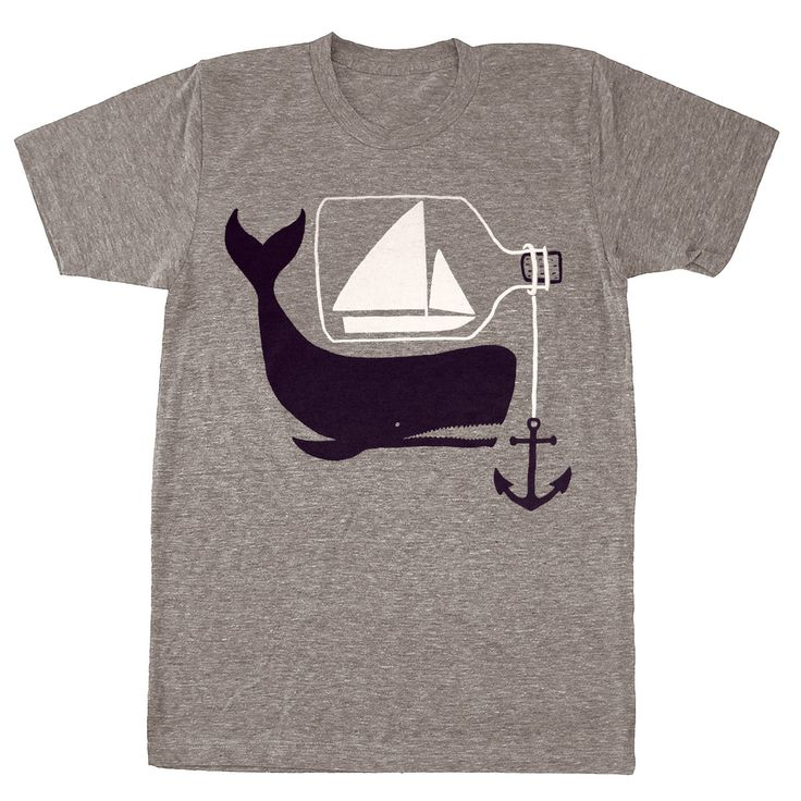 Ship & Whale - Mens Unisex Nautical T-Shirt Tee Shirt Anchor Whale Sailing Boat Ship in a Bottle Tshirt - Tri Blend Grey - S, M, L, XL. $25.00, via Etsy.