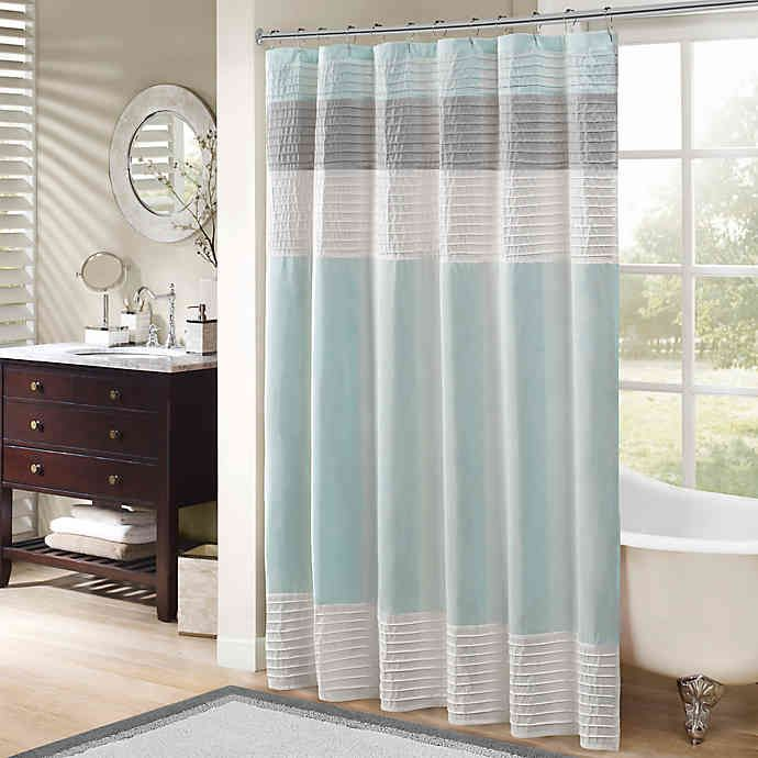 Madison Park Amherst Shower Curtain In 2020 Striped Shower Curtains Home Essence Fabric Shower Curtains
