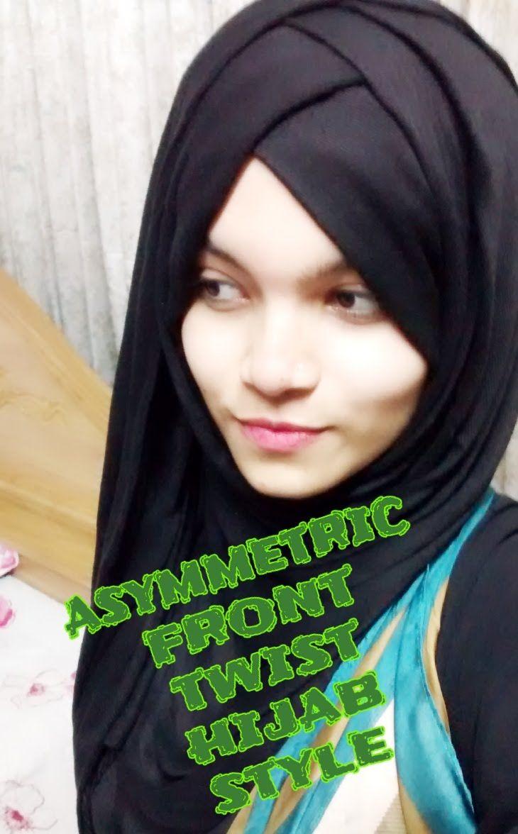 asymmetric front twist hijab style with single pashmina   Farzana Alin  