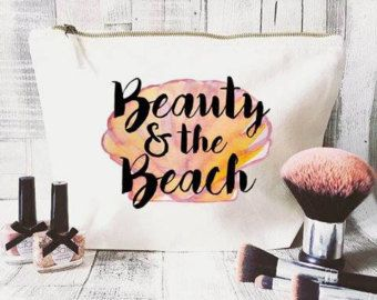 Zeemeermin make-up tas-Quote make-up tas-unieke cadeau-tas - grote cosmetische zak-inspirerende citaat-gepersonaliseerde cosmetische zak-strand toilettas