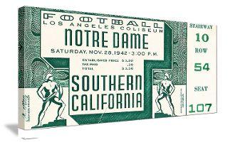 Football Art. College Football Art. Canvas Football Art. Vintage Football Art. Canvas Sports Art. Vintage Sports Art. Notre Dame football art. USC football art.