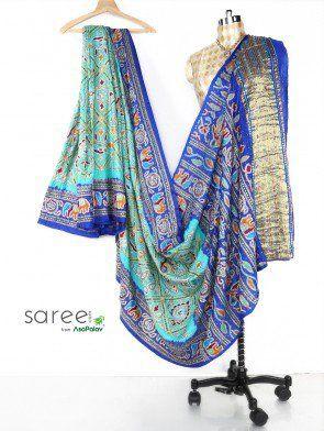 Blue and Sea Green Gaji Silk Bandhani Saree with Resham and Zari Work