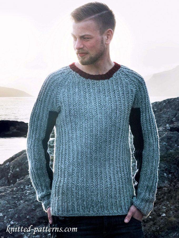 Mens jumper free knitting pattern Free knitting patterns Pinterest ...
