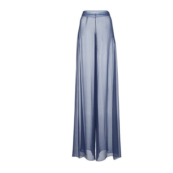 Christian Siriano     Chiffon Wide Leg Trouser (£655) ❤ liked on Polyvore featuring pants, christian siriano, grey, high waisted trousers, chiffon pants, wide leg chiffon pants, high-waisted trousers and high waisted wide leg trousers