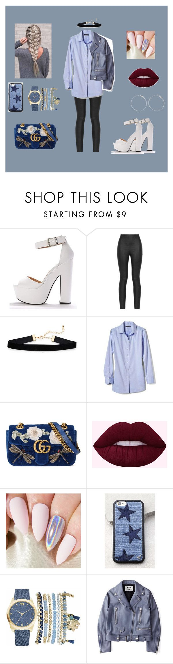 """""""bluuue"""" by myriame-t on Polyvore featuring mode, Armani Jeans, Banana Republic, Gucci, Wildflower, Mixit et Acne Studios"""